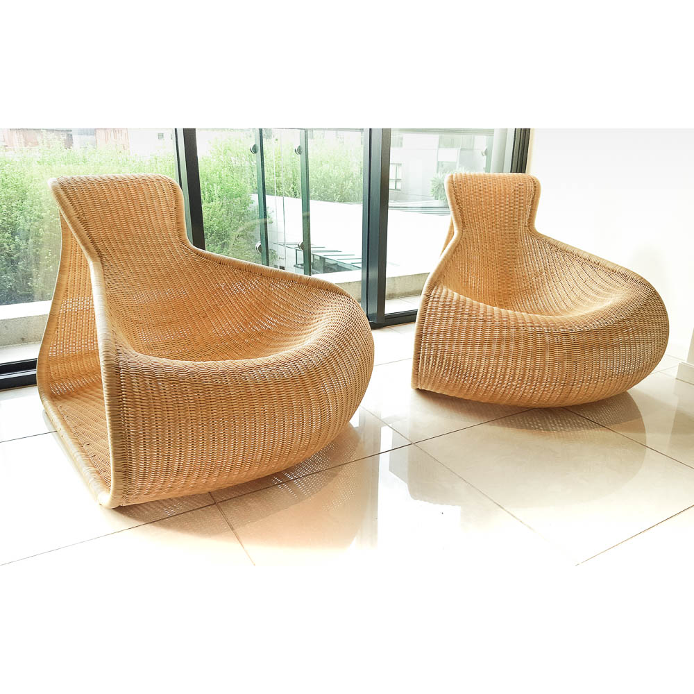2 cane easy chairs by roderick von for driade