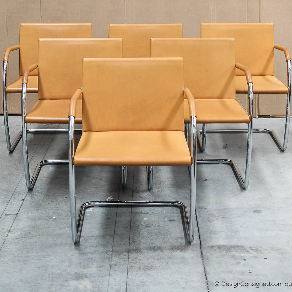 knoll Brno chairs in tan leather