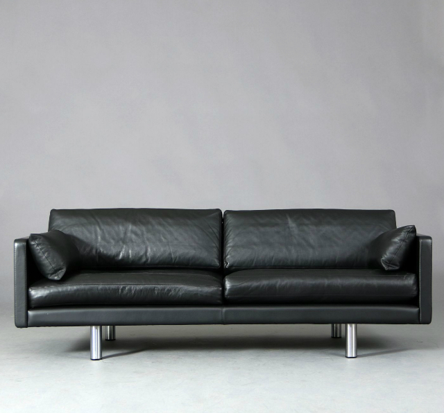 black leather Scandinavian sofa