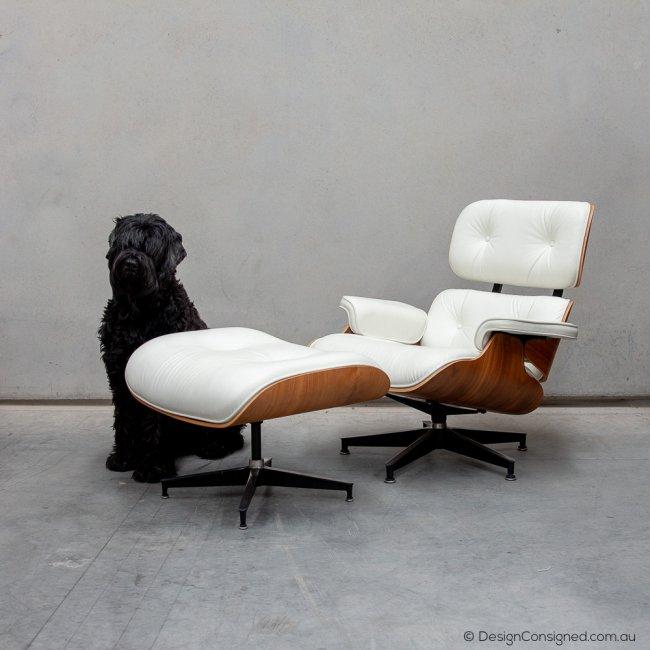 Eames lounge and ottoman walnut ivory