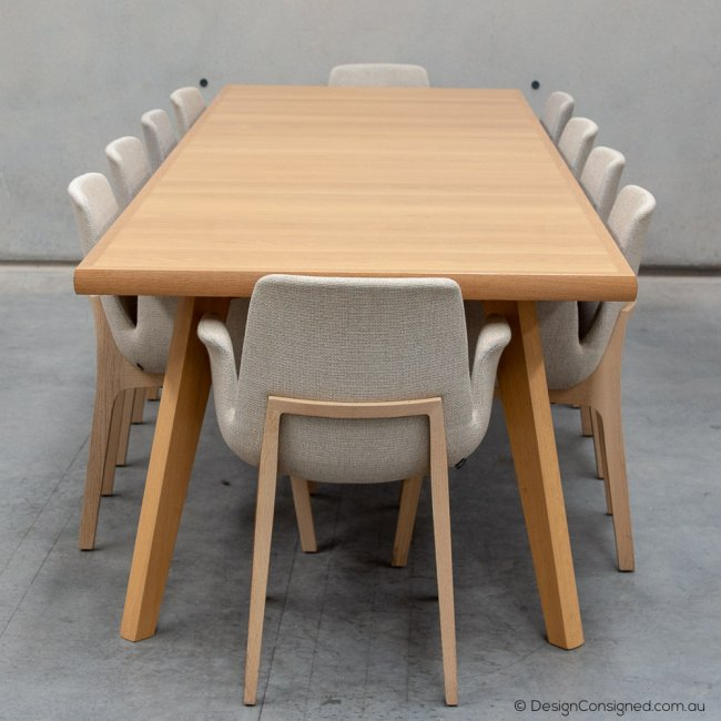 Sterling oak dining table by Lowe for Hub Furniture