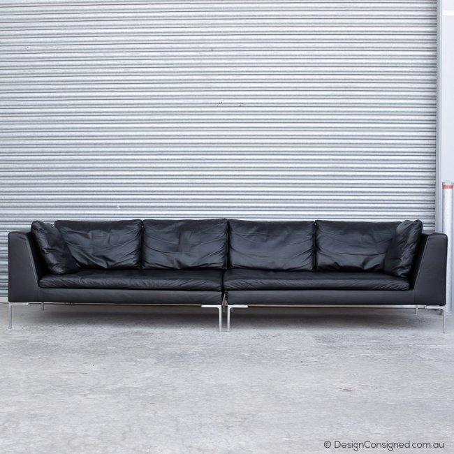 BBItalia Charles black leather sofa by Antonio Citterio