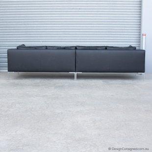 B&BItalia black leather designer sofa