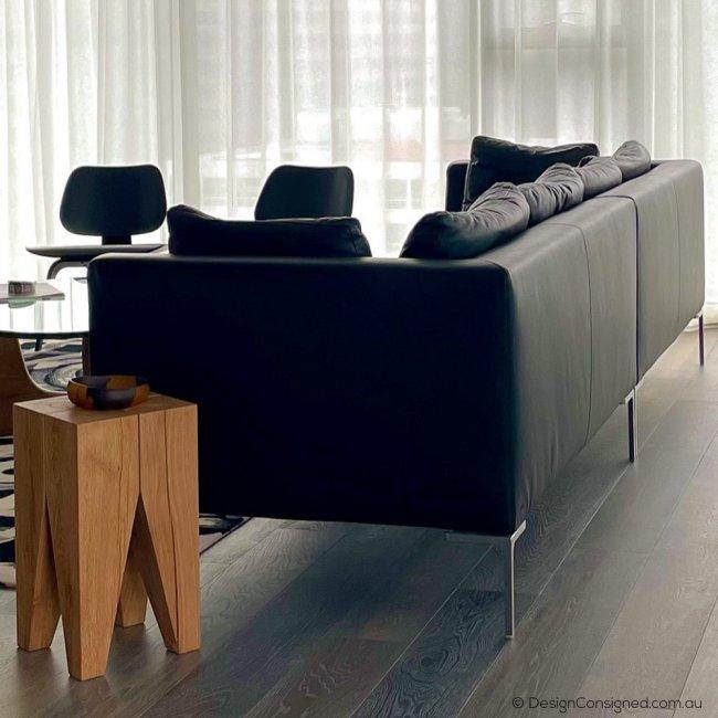black leather designer sofa for sale