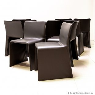 Molteni glove leather dining chairs by Patricia Urquiola