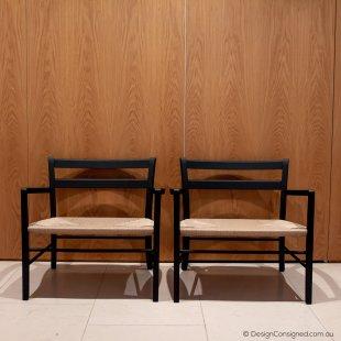 black timber designer lounge chair