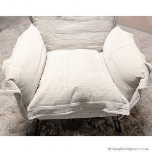 moroso designer linen lounge chair