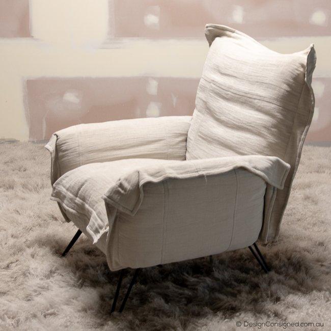 cumulus linen lounge chair
