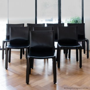 set of 8 black cab chairs